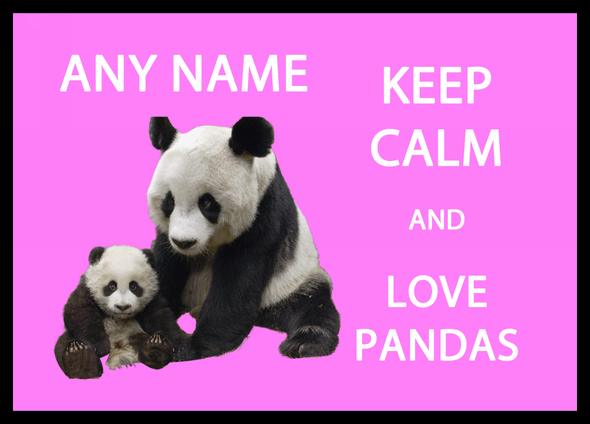Keep Calm And Love Pandas Pink Personalised Computer Mousemat