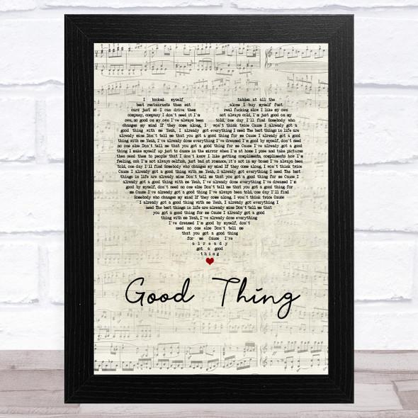Zedd & Kehlani Good Thing Script Heart Song Lyric Music Art Print