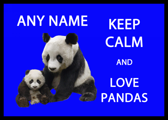 Keep Calm And Love Pandas Personalised Computer Mousemat