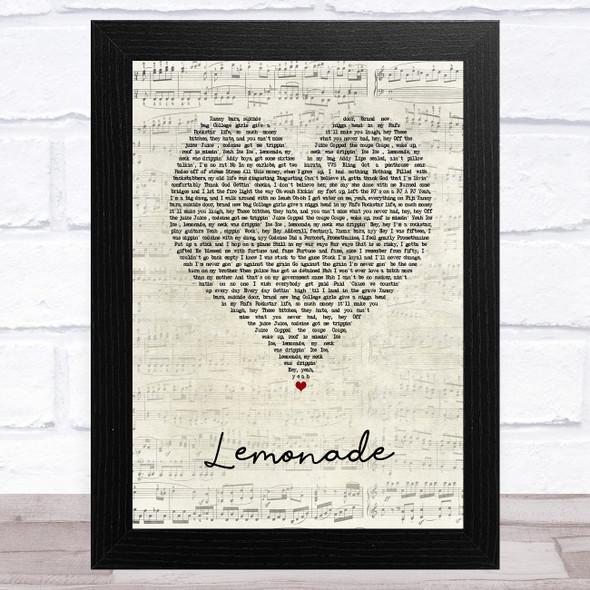 Internet Money Lemonade Script Heart Song Lyric Music Art Print