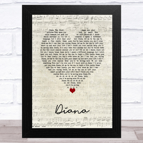One Direction Diana Script Heart Song Lyric Music Art Print