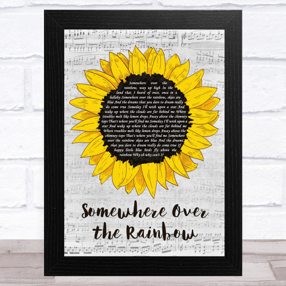 Israel Kamakawiwo'ole Somewhere Over the Rainbow Grey Script Sunflower Song Lyric Music Art Print