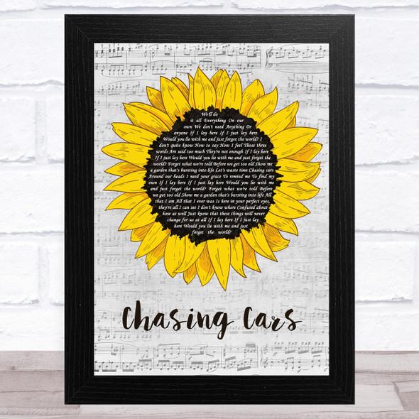 Snow Patrol Chasing Cars Grey Script Sunflower Song Lyric Music Art Print