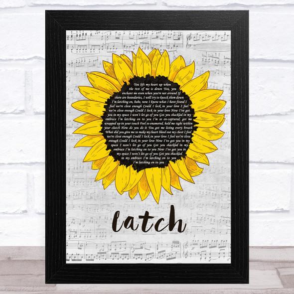 Sam Smith Latch Grey Script Sunflower Song Lyric Music Art Print