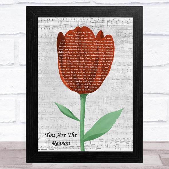 Callum Scott & Leona Lewis You Are The Reason Grey Script Watercolour Tulip Song Lyric Music Art Print