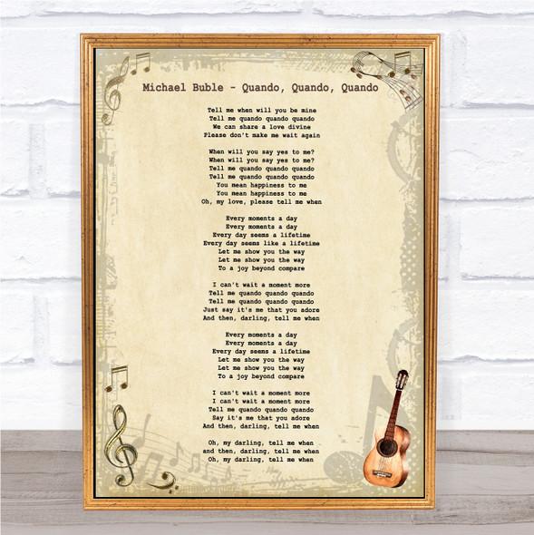 Michael Buble Quando, Quando, Quando Vintage Guitar Song Lyric Music Art Print