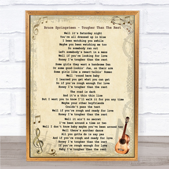 Bruce Springsteen Tougher Than The Rest Vintage Guitar Song Lyric Music Art Print