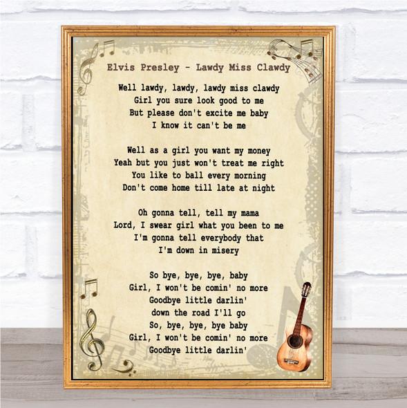 Elvis Presley Lawdy Miss Clawdy Vintage Guitar Song Lyric Music Art Print