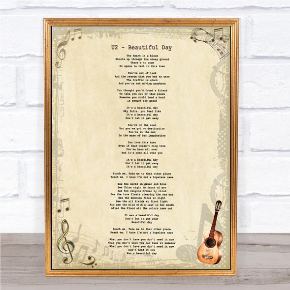 U2 Beautiful Day Vintage Guitar Song Lyric Music Art Print