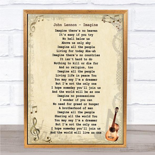John Lennon Imagine Vintage Guitar Song Lyric Music Art Print
