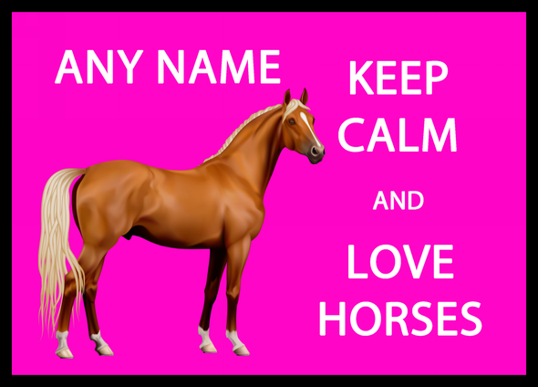 Keep Calm And Love Horses Pink Personalised Computer Mousemat