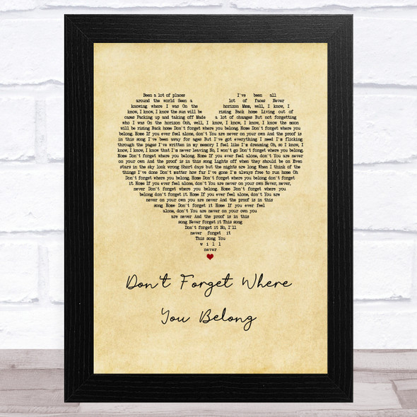One Direction Don't Forget Where You Belong Vintage Heart Song Lyric Music Art Print