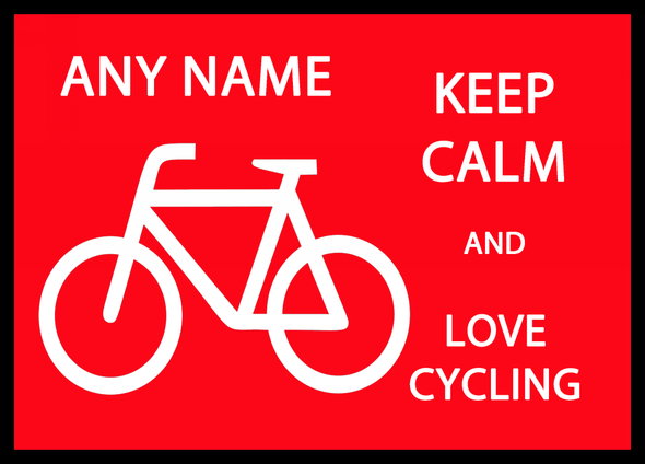 Keep Calm And Love Cycling Personalised Computer Mousemat