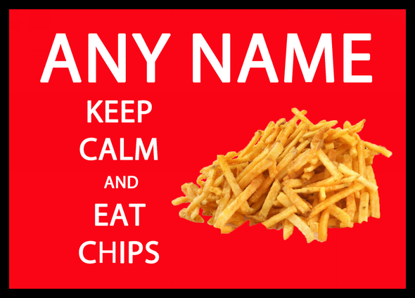 Keep Calm And Eat Chips Red Personalised Computer Mousemat