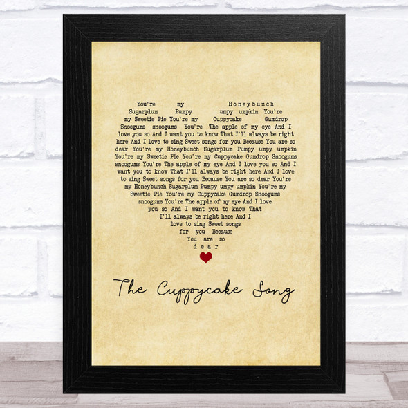 The Cuppycake Song Vintage Heart Song Lyric Music Art Print