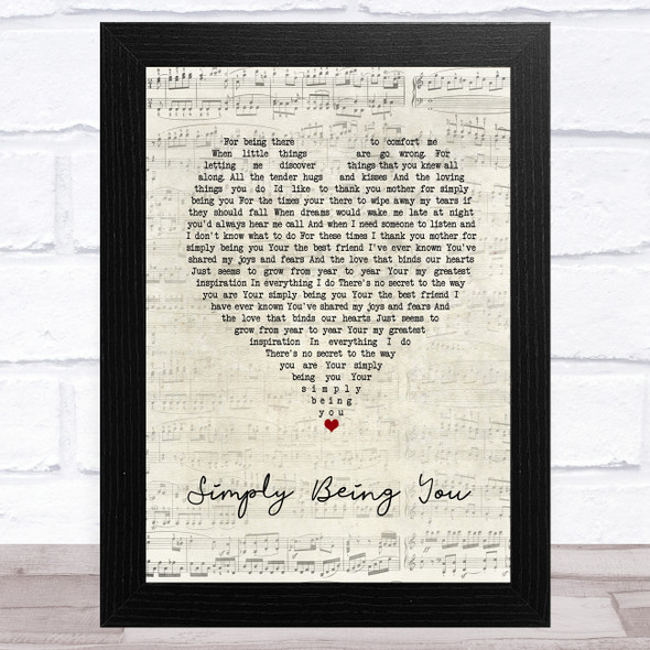 Isla Grant Simply Being You Vintage Heart Song Lyric Music Art Print