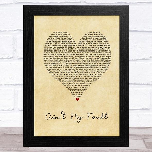 Zara Larsson Ain't My Fault Vintage Heart Song Lyric Music Art Print