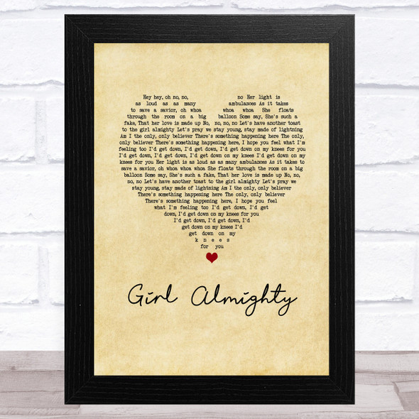 One Direction Girl Almighty Vintage Heart Song Lyric Music Art Print