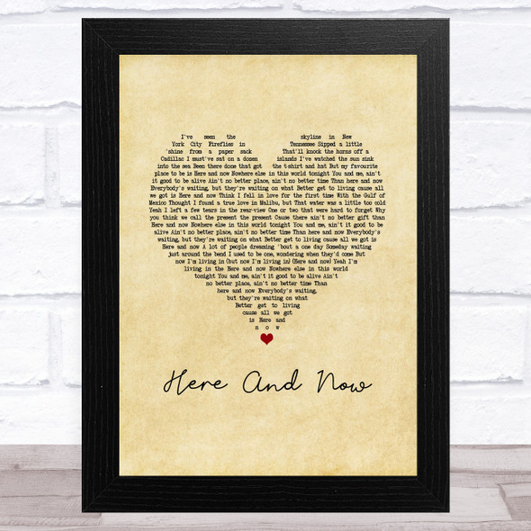 Kenny Chesney Here And Now Vintage Heart Song Lyric Music Art Print