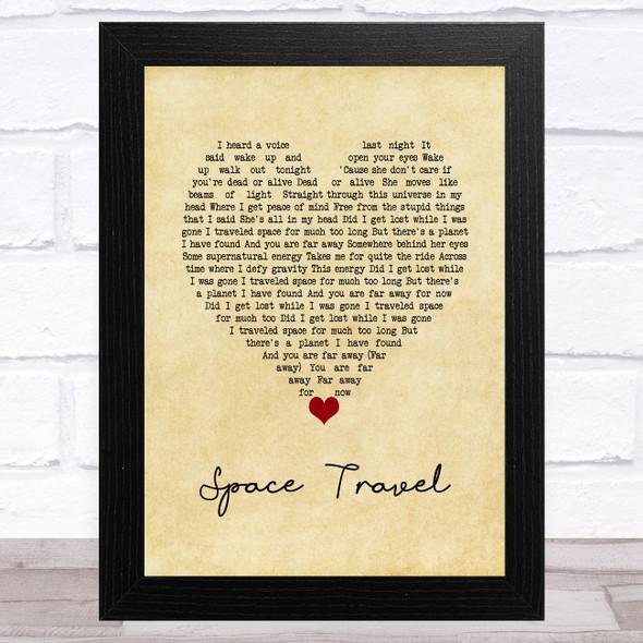 Yellowcard Space Travel Vintage Heart Song Lyric Music Art Print