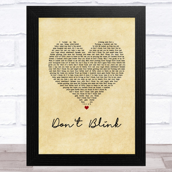 Kenny Chesney Don't Blink Vintage Heart Song Lyric Music Art Print