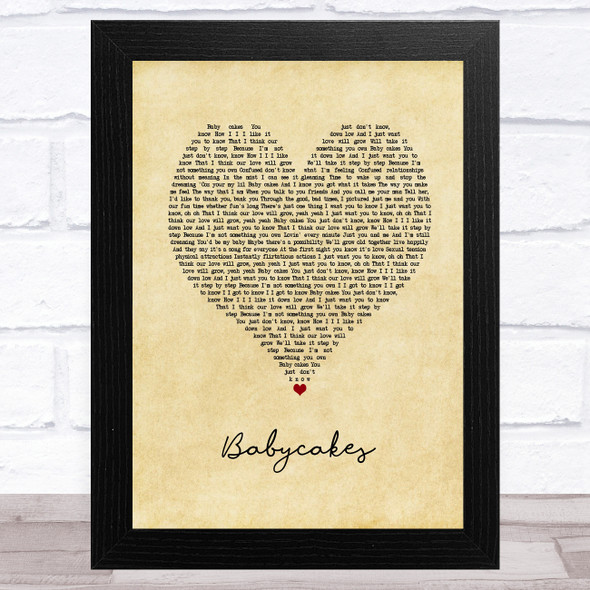 3 of a Kind Baby Cakes Vintage Heart Song Lyric Music Art Print