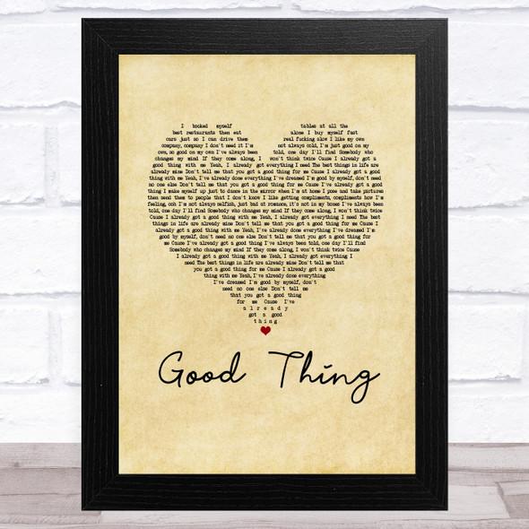 Zedd & Kehlani Good Thing Vintage Heart Song Lyric Music Art Print