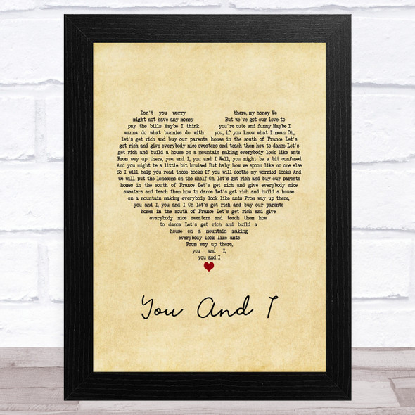 Ingrid Michaelson You And I Vintage Heart Song Lyric Music Art Print