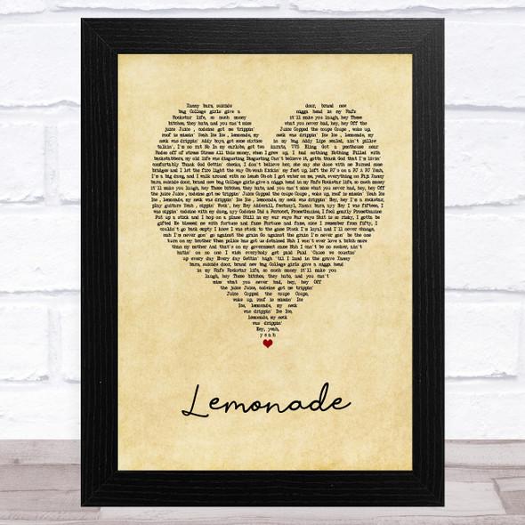 Internet Money Lemonade Vintage Heart Song Lyric Music Art Print