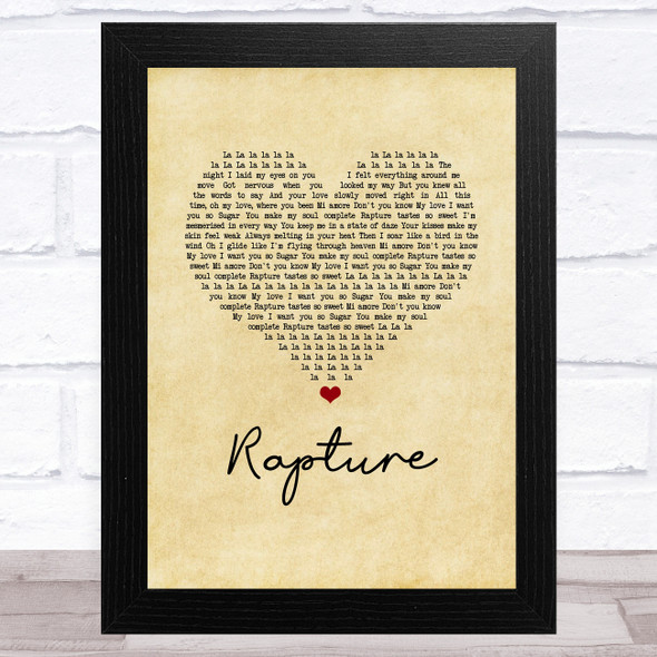 iiO Rapture Vintage Heart Song Lyric Music Art Print