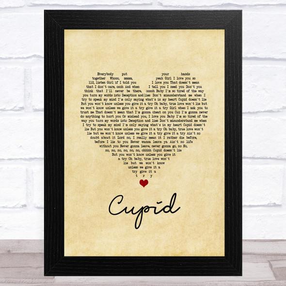 112 Cupid Vintage Heart Song Lyric Music Art Print