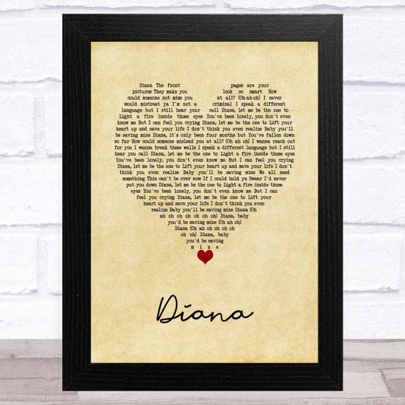 One Direction Diana Vintage Heart Song Lyric Music Art Print