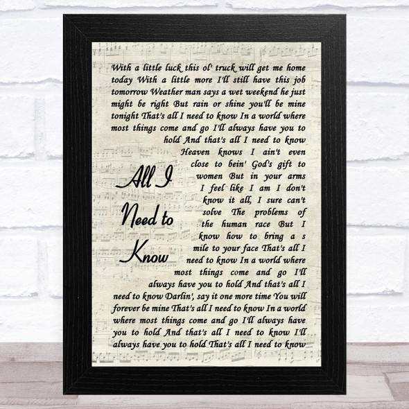 Kenny Chesney All I Need to Know Vintage Script Song Lyric Music Art Print