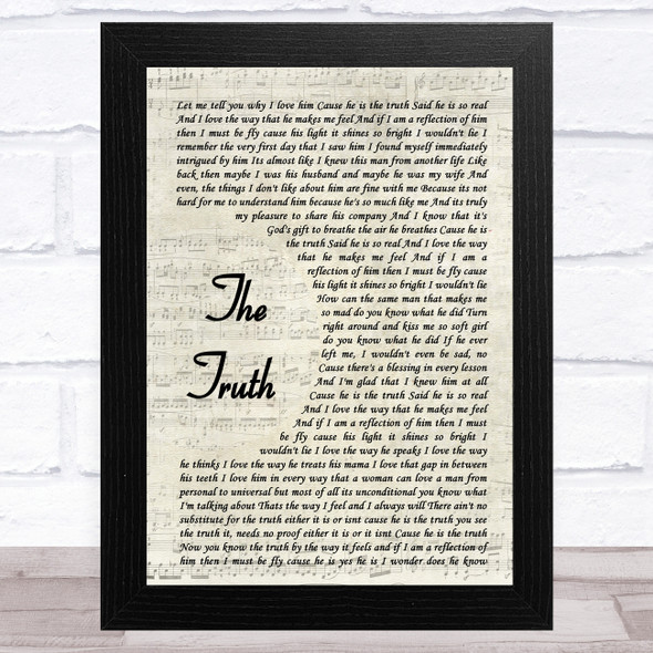 India.Arie The Truth Vintage Script Song Lyric Music Art Print