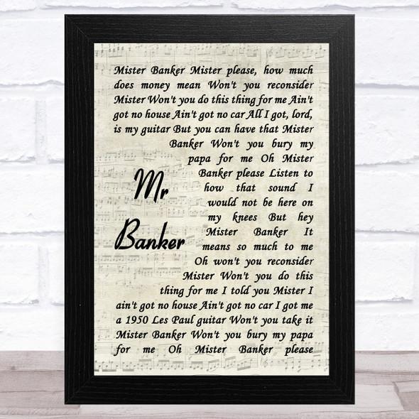Lynyrd Skynyrd Mr Banker Vintage Script Song Lyric Music Art Print