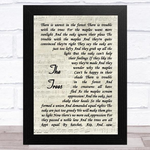 Rush The Trees Vintage Script Song Lyric Music Art Print