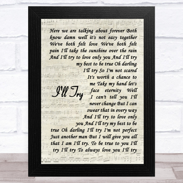 Alan Jackson I'll Try Vintage Script Song Lyric Music Art Print