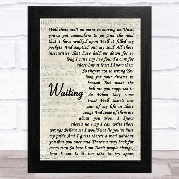 George Michael Waiting Vintage Script Song Lyric Music Art Print