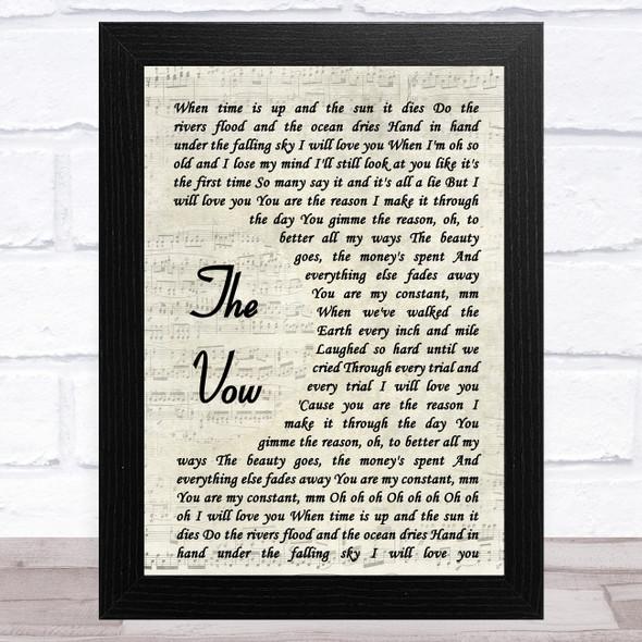 Ruth-Anne Cunningham The Vow Vintage Script Song Lyric Music Art Print