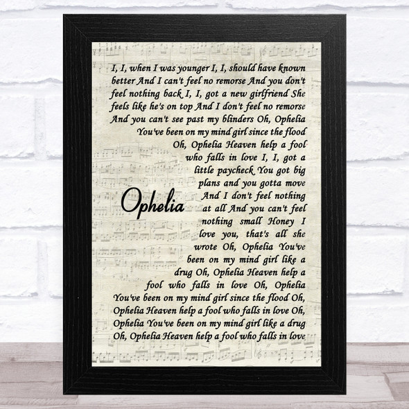 The Lumineers Ophelia Vintage Script Song Lyric Music Art Print