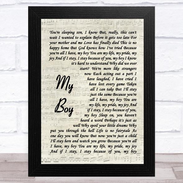 Elvis Presley My Boy Vintage Script Song Lyric Music Art Print