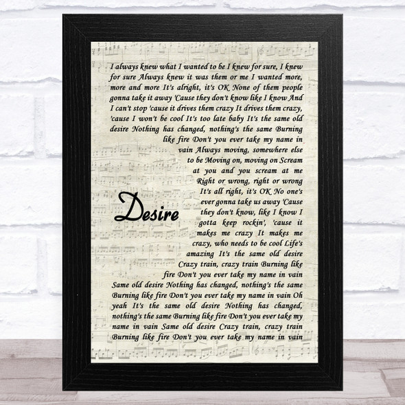 Ozzy Osbourne Desire Vintage Script Song Lyric Music Art Print