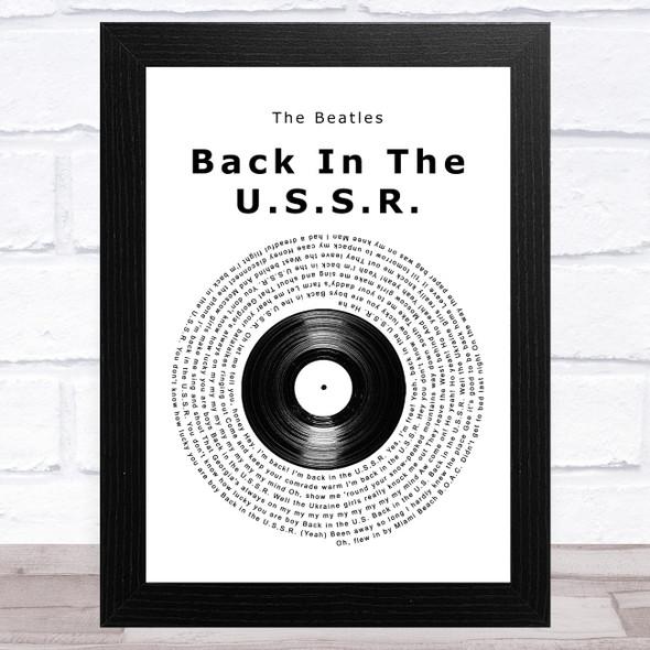 The Beatles Back In The U.S.S.R. Vinyl Record Song Lyric Music Art Print