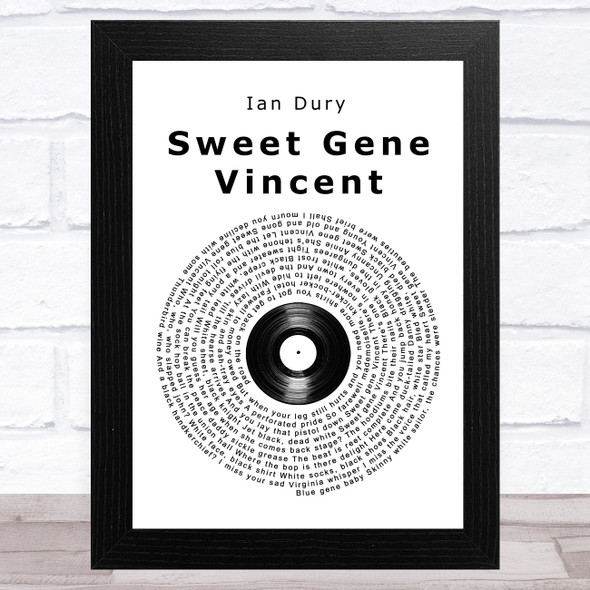 Ian Dury Sweet Gene Vincent Vinyl Record Song Lyric Music Art Print