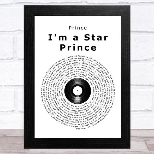 Prince I'm a Star Prince Vinyl Record Song Lyric Music Art Print