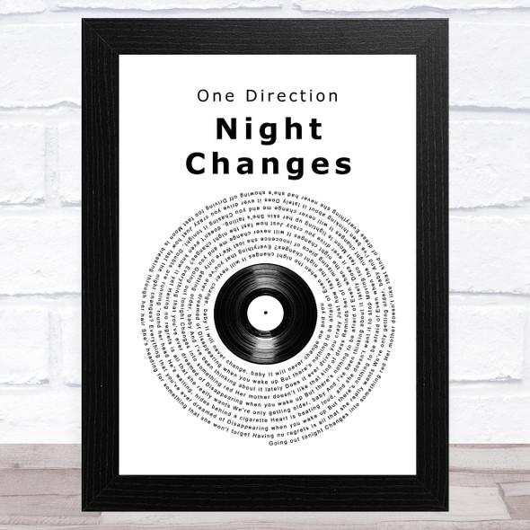 One Direction Night Changes Vinyl Record Song Lyric Music Art Print