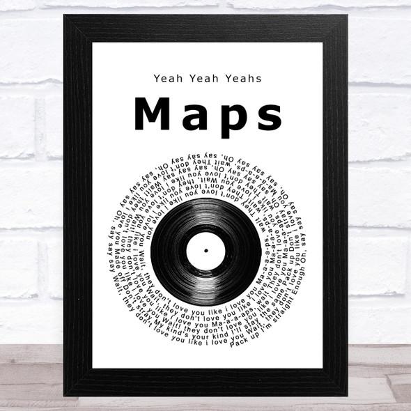 Yeah Yeah Yeahs Maps Vinyl Record Song Lyric Music Art Print