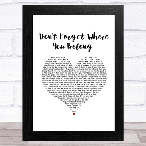 One Direction Don't Forget Where You Belong White Heart Song Lyric Music Art Print