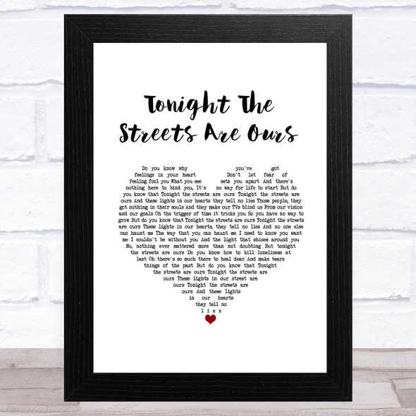 Richard Hawley Tonight The Streets Are Ours White Heart Song Lyric Music Art Print