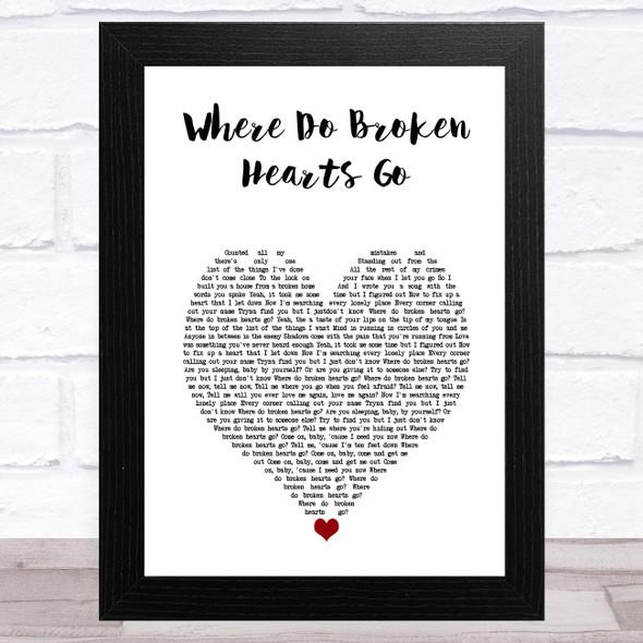 One Direction Where Do Broken Hearts Go White Heart Song Lyric Music Art Print